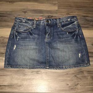 Paige Distressed Denim Mini Skirt